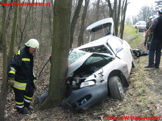 Verkehrsunfall L11 PKW gegen Baum