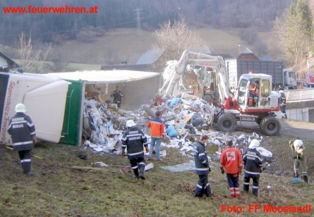Sattelschlepper mit Müll umgestürzt
