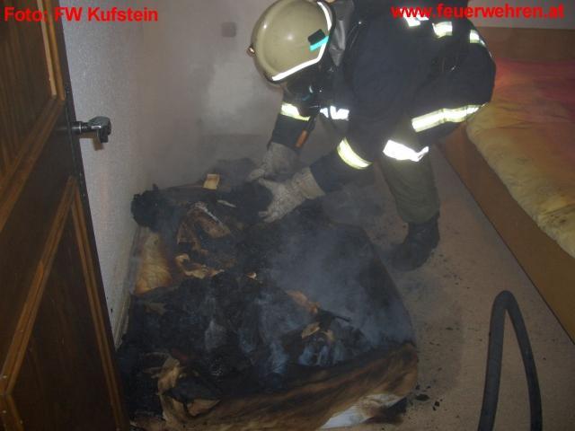 Schwelbrand einer Matratze