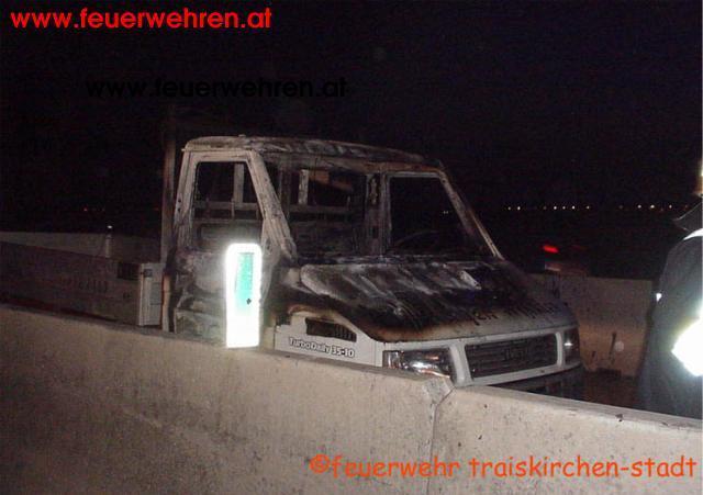 Fahrzeugbrand auf der Südautobahn