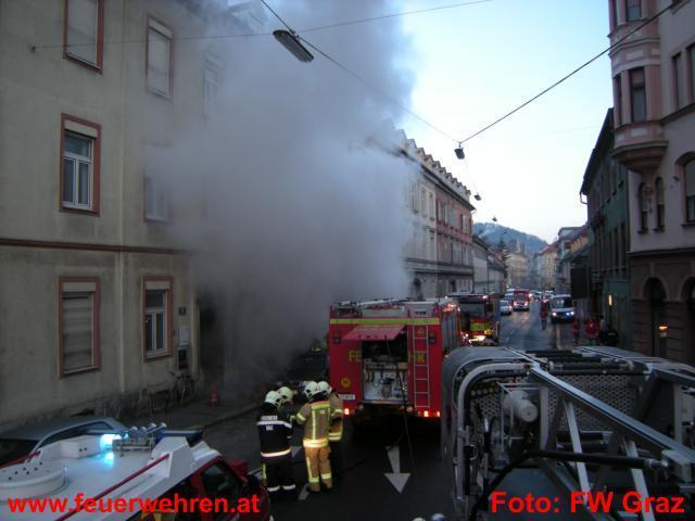 Zimmerbrand in der Grazer Grabenstraße