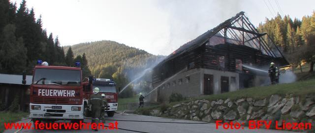 Wirtschaftsgebäudebrand in Pichl-Preunegg