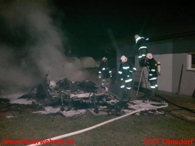 Wohnwagen bei Brand völlig zerstört