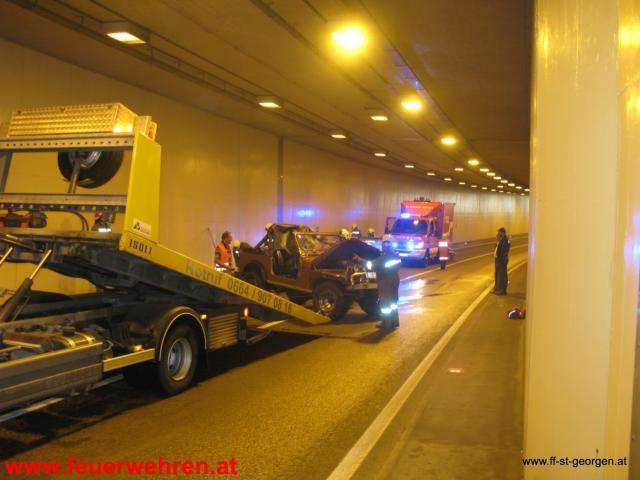 Verkehrsunfall im Tunnel St. Georgen i.A.