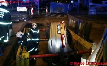BF Wien: Taxi stürzt in Baugrube