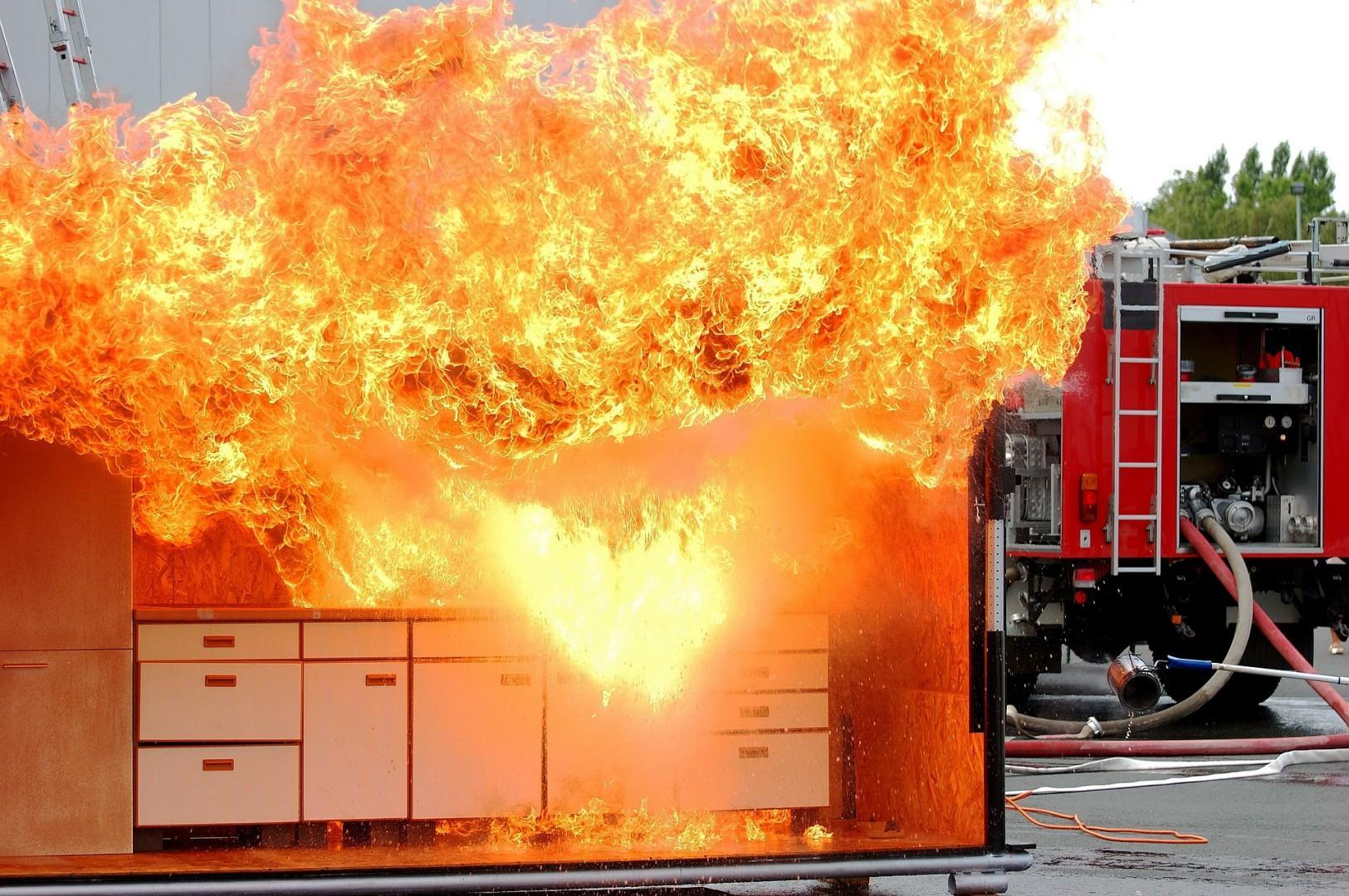 Brennende Küche