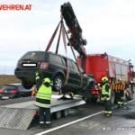 FF Gaweinstal: Fahrzeugbrand auf der A5-Nordautobahn, Anschlussstelle Hochleithen 3