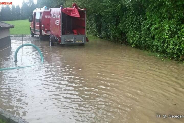 FF St. Georgen i.A.: Überflutungen nach Starkregen 1