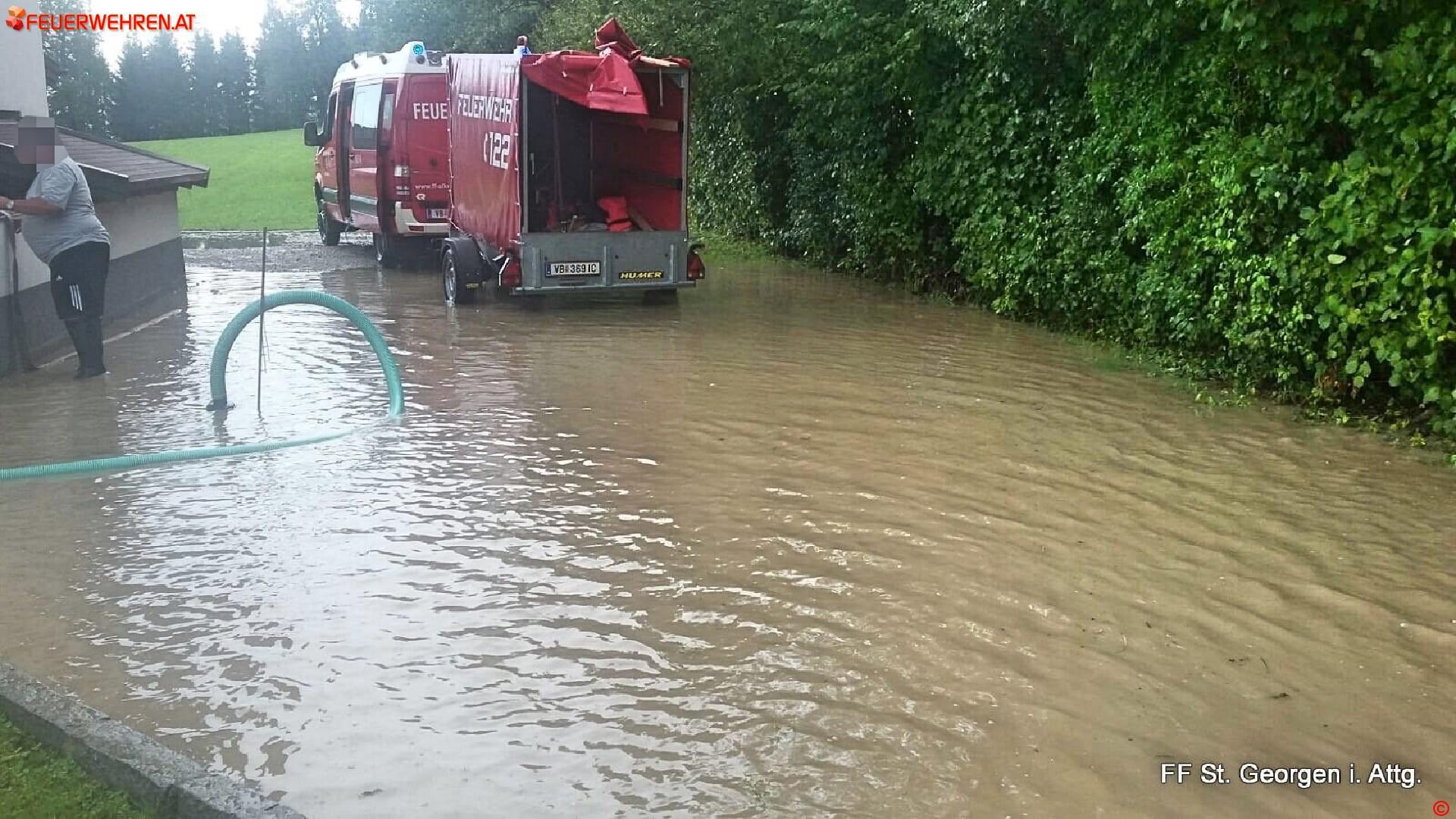 FF St. Georgen i.A.: Überflutungen nach Starkregen 2