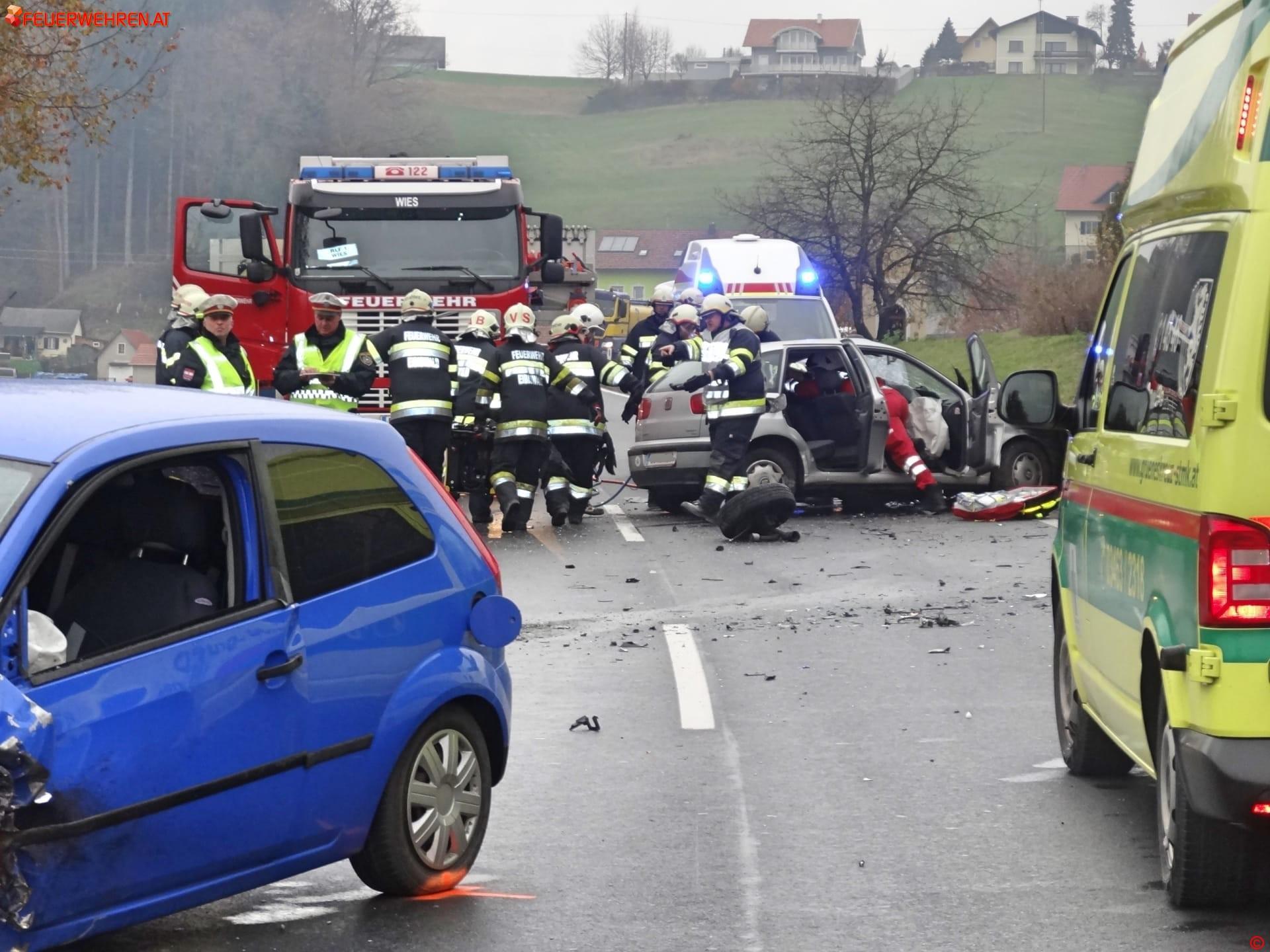 BFVDL: Schwerer Verkehrsunfall auf der B76 im Bereich Wies-Eibiswald 1