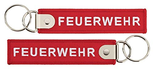 Feuerwehr Schlüsselanhänger rot mit verstärktem Schlüsselring
