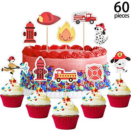 60 Stücke Feuerwehrmann Cupcake Toppers
