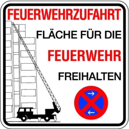 Schild Feuerwehrzufahrt Fläche für die Feuerwehr freihalten