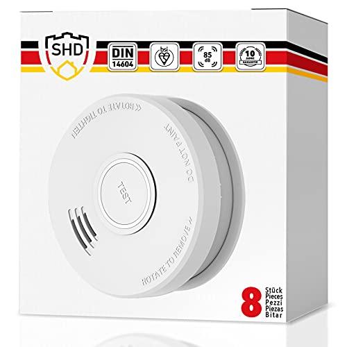 Rauchmelder 8er Set mit 10 Jahre Garantie - geprüft nach DIN EN14604 und NF Zertifiziert