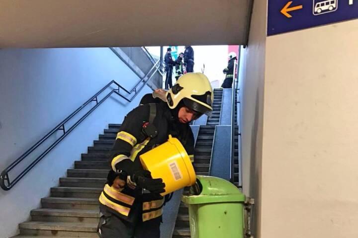Müllbehälterbrand am Bahnhof Klosterneuburg-Weidling