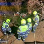 Menschenrettung nach Baggerabsturz im Villacher Stadtteil Drautschen