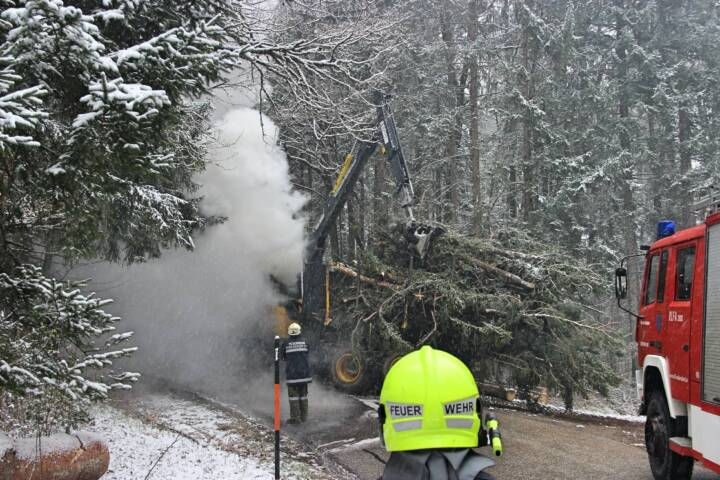 Brand eines Harvester in Rudersdorf