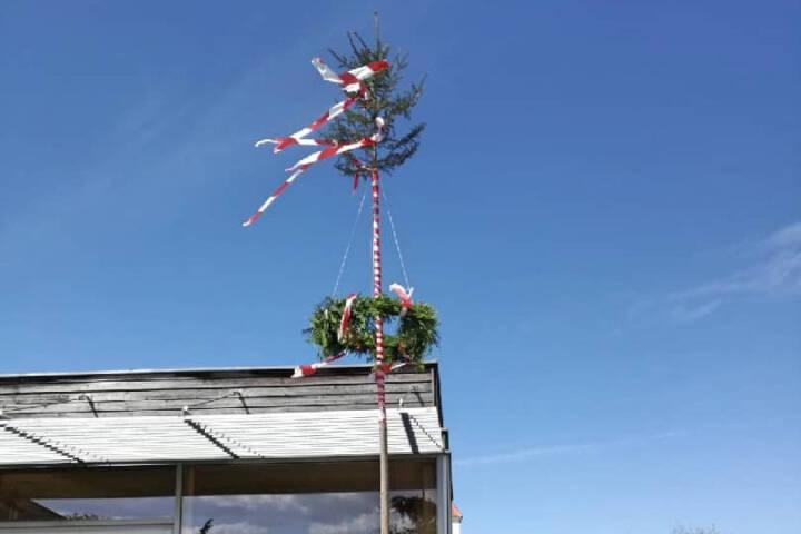 Maibaum der FF-Statzendorf heuer erstmals in Rottersdorf aufgestellt