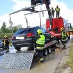 Fahrzeugbergung nach Aquaplaning auf der A5