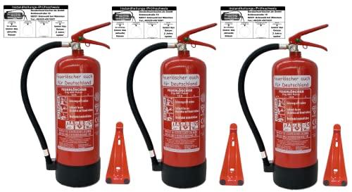 3 x 6 kg Feuerlöscher EN3 ABC Pulverlöscher