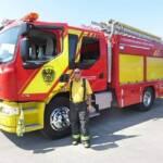 Feuerwehrauto mit österreichischen Wappen in Chile