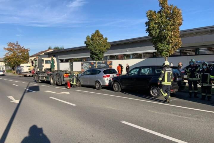 Verkehrsunfall mit verletzter Person auf B50