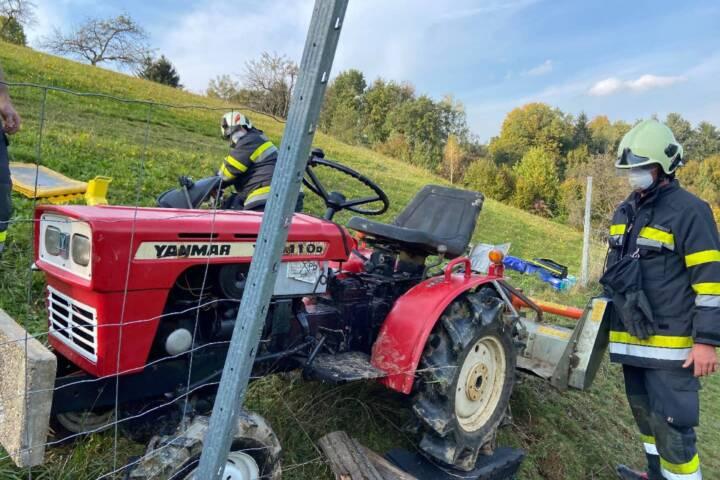 Person unter Traktor eingeklemmt