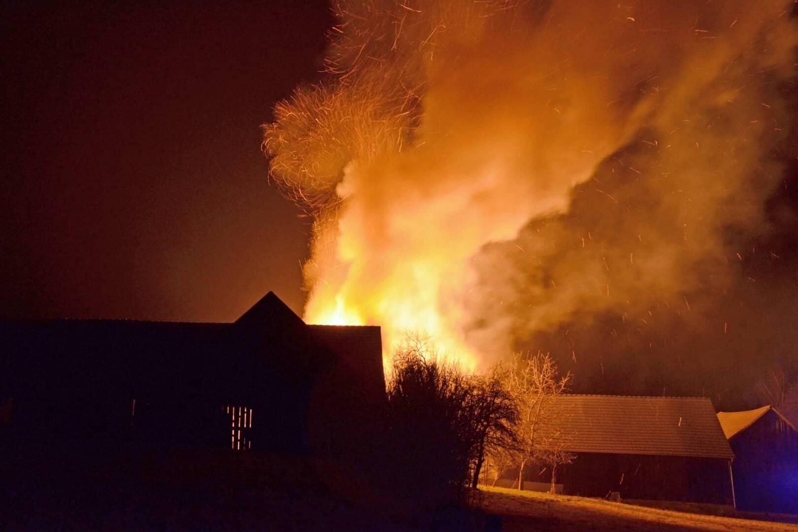 Schuppenbrand in Großeberharts