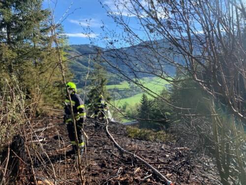 BFV Liezen: 6 Feuerwehren löschten Waldbrand in Lassing