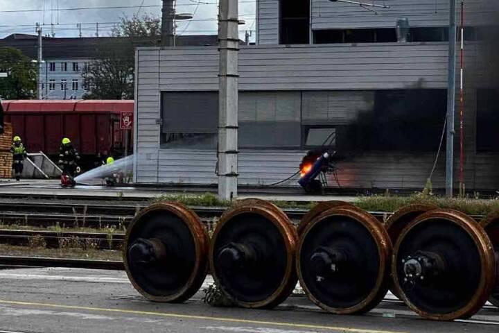 Brand einer Acetylengasflasche